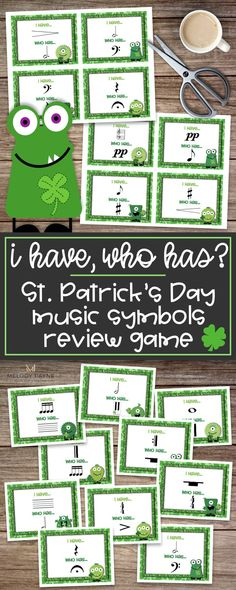 "Engage your students in the classroom or group lesson with a St. Patrick's Day music symbols version of the popular ""I Have…Who Has?"" game. Review 46 musical symbols in a fun and hands-on way, increase your students' retention of musical symbol names, and have fun at the same time! Note values, rhythms, piano keys, dynamics, accidentals, time signatures, articulation markings, grand staff. Perfect for music class, piano lessons, sub tub, group lessons, music camps, centers, and more!"