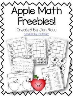 Apple Math Freebie by Jen Ross - Teacher by the Beach Math Classroom, Kindergarten Math, Classroom Activities, Teaching Math, Classroom Ideas, Preschool Apple Activities, Classroom Incentives, Preschool Cooking, Preschool Math