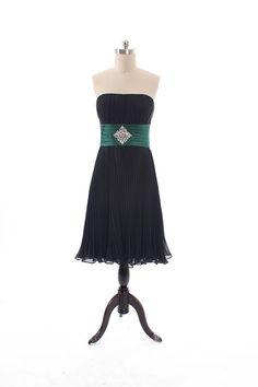 Strapless chiffon bridesmaid dress with empire ...