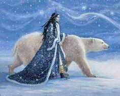 Polar bear princess Polar Bear Wallpaper, Les Moomins, Art Magique, East Of The Sun, Fairytale Art, Bear Art, Snow Queen, Ice Queen, Queen Art