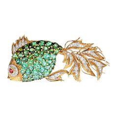 Green & Pink Tourmaline Diamond Yellow Gold Tropical Fish Brooch | From a unique collection of vintage brooches at https://www.1stdibs.com/jewelry/brooches/brooches/