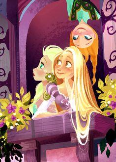 Elsa, Rapunzel and Anna.