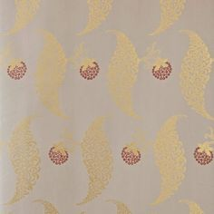 Charleston Grey / Eating Room Red / Metallic Gold - BP1925 - Rosslyn - Grace and Favour - Farrow & Ball Wallpaper