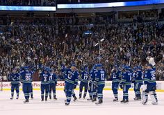 The Vancouver Canucks thank the fans at Rogers Arena.