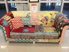 Cool patchwork couch.