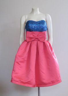 The 80s Prom Dress / Pink / Short Prom Dress / Big Bow Dress / Sequin / Madonna…