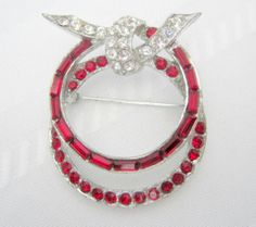Vintage Pell Red Channel Rhinestone Brooch by VintagObsessions, $35.00