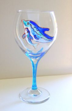 8.5 Tall Wine Glass  Dolphin With Baby  WG0016 by marcyart on Etsy, $19.95