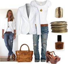 Casual Outfit- Love the white blazer/shirt with jeans! Casual Outfit- Love the white blazer/shirt with jeans! Mode Outfits, Jean Outfits, Casual Outfits, Fashion Outfits, Womens Fashion, Jeans Fashion, Outfits 2016, Fashion Clothes, Classy Outfits