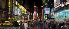 Panoramic View of Times Square by Bert Monroy. All done in Illustrator!!