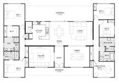 T Shaped 4 Bedroom House Plans . T Shaped 4 Bedroom House Plans . Floor Plan Friday U Shaped Home Floor Plan 4 Bedroom, 4 Bedroom House Plans, Dream House Plans, House Floor Plans, Ranch Style Floor Plans, Sims 4 House Plans, Simple Floor Plans, Courtyard House Plans, U Shaped House Plans