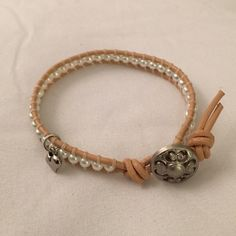 Artisan Handmade Bracelet Beautiful pearl-like beads on a leather string! Handmade Jewelry Bracelets