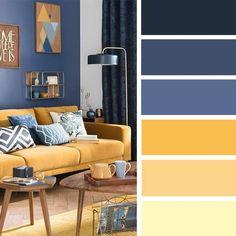 living room color schemes - best living room decor The best living room color schemes - Blue and Mustard Color Palette Modern Color Schemes, House Color Schemes, Living Room Color Schemes, House Colors, Living Room Designs, Modern Color Palette, Color Palette Blue, Color Schemes For Office, Nursery Color Schemes