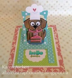 Karen Aicken wanted to see how Buster the Dog would fare in the kitchen! Using Karen Burniston's Hanging Charm Pull Tab as a base, and decorating Buster the Dog using Props 8, Karen Aicken churned out a beautiful card. She also used Just a Note Clear Stamps, Pull Card Edges, Ring Accordion, Oval Pull Card, Clear Double Sided Adhesive, and Soft Finish Cardstock. Find the supplies here: https://www.elizabethcraftdesigns.com/collections/pop-it-ups.