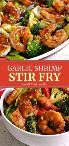 Shrimp Stir Fry Easy, Shrimp Broccoli Stir Fry, Shrimp And Vegetables, Dinner With Vegetables, Stir Fry Vegetables, Spicy Stir Fry Sauce, Keto Stir Fry, Recipes For Vegetables, Stirfry Shrimp