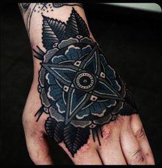 Custom Dark Ink Mandala flower Tattoo On Left Hand - Mandala Tattoos Tumblr for Fashion Girls