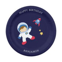 Birthday Party Design, Birthday Themes For Boys, Kids Birthday Party Invitations, Boy Birthday Parties, Birthday Ideas, Cute Birthday Quotes, Astronaut Party, Space Party, Paper Plates