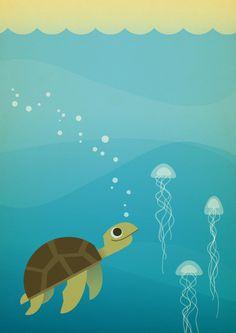 Sea Turtle by Chad Geran, via Behance