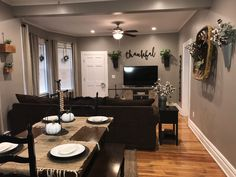 Top farmhouse living room designs to inspire you Living Room Themes, Coastal Living Rooms, Home Living Room, Living Room Designs, Gray Living Room Walls, Living Room And Kitchen Together, Home Decor Bedroom, Room Decor, Kitchen Dining Living