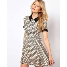 Love Smock Dress In Geo Print With Collar ($61) ❤ liked on Polyvore