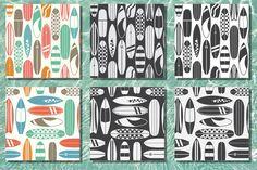 Retro Surfboard Pattern Set by krugli on @creativemarket