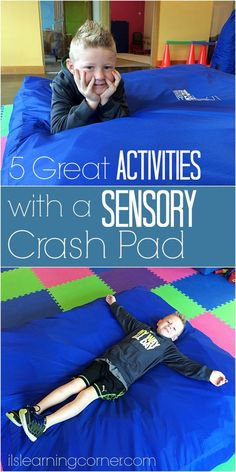 5 Terrific Gross Motor Sensory Crash Pad Activities Folks in our sensory community swear by their crash pad! And to get you going, here are five terrific sensory crash pad activities you can do at home. Sensory Therapy, Sensory Tools, Autism Sensory, Sensory Diet, Sensory Issues, Gross Motor Activities, Sensory Activities, Therapy Activities, Infant Activities