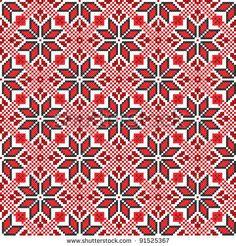 seamless embroidered good like handmade cross-stitch ethnic Ukraine pattern - stock vector Biscornu Cross Stitch, Just Cross Stitch, Cross Stitch Borders, Cross Stitch Charts, Cross Stitching, Cross Stitch Embroidery, Embroidery Patterns, Cross Stitch Patterns, Knitting Charts