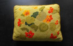 Vintage Needlepoint Pillow with Nastursiums by Vintagefrenchlinens  We invite you to visit our Etsy shop to see the many wonderful French vintage and antique items we have available.