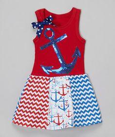 Look at this #zulilyfind! Red & Blue Anchor Dress - Infant, Toddler & Girls #zulilyfinds