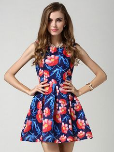 Blue Floral High Waist Sleeveless Skater Dress | abaday