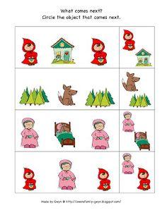 Little Red Riding Hood Printable ~ Preschool Printables Fairy Tale Activities, Pre K Activities, Library Activities, Fairy Tale Projects, Fairy Tales Unit, Fairy Tale Theme, Math Patterns, Preschool Printables, Preschool Ideas