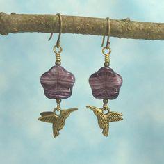 Handmade Earrings   Summer Garden  Humming Bird   by Hyacinthsbyme, $7.00