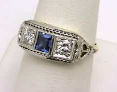 vintage 14k diamond and sapphire ring benchmarkgembrokers.com