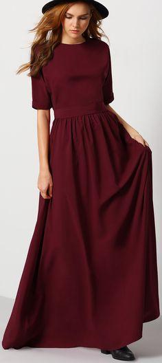 Occasion & Party Dresses -  Burgundy Round Neck Maxi Dress- SheIn.com