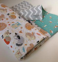 Baby Quilt, Organic, Gender Neutral, Modern Baby Quilt,Critter Patch, Forest Frolic, Bunny Brigade, Crib Bedding, Baby Bedding, Nursery Art