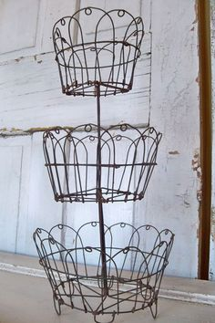 Rusty Wire Baskets Three Tiered Metal Display By AnitaSperoDesign