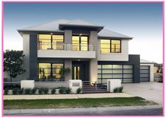 Dream home 3 Duplex House Plans, Modern House Plans, Modern House Design, Dream Home Design, Home Design Plans, White Exterior Houses, Double Storey House, House With Balcony, Modern Contemporary Homes