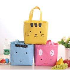 PVC Aluminum foil Cartoon cute hand holding thick insulation lunch box - FREE SHIPPING