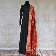 Buy lovely black designer rayon kurta with pure banarasi silk dupatta for womens online india. Black Anarkali, Silk Anarkali Suits, Silk Dupatta, Anarkali Dress, Lehenga, Simple Anarkali, Sari Dress, Dress Skirt, Indian Gowns Dresses