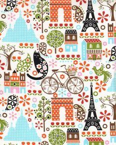 My Paris Eiffel Tower Arch de Triomphe Cat City Scene Bicycle Bike Fabric TT Sewing Patterns Free, Fabric Patterns, Print Patterns, Painting Patterns, Fabric Design, Pattern Design, Backgrounds Wallpapers, Pattern Texture, Timeless Treasures Fabric