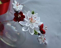 Capelli pettine calce bianca argento verde Kanzashi fiori