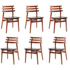 6 Poul Volther Oak & Leather Dining Chairs | From a unique collection of antique and modern dining room chairs at http://www.1stdibs.com/furniture/seating/dining-room-chairs/
