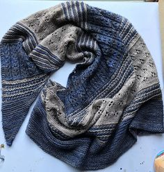 Blooming Texture Shawl by Tina Tse, knitted by shelbysknitknacks   malabrigo Mechita in Sand Bank and Unicornio