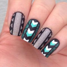 Black and grey nails. Indian style.