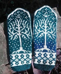 The Tree of Gondor by Natalia Moreva. Knitted mittens. Lord of the Rings. Ravelry paid pattern $6. Could use graph pattern from Afghan. 4ply 422m/100g x 1.