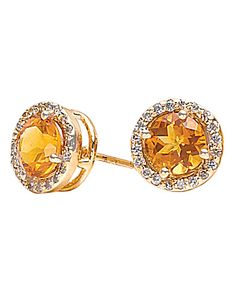 Yellow gold citrine stud earrings for a sophisticated look! #lordandtaylor #jewelry