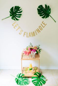lets flamingle bridal shower / http://www.deerpearlflowers.com/tropical-bridal-shower-ideas/