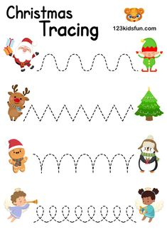 christmas printables Santa Claus - Christmas Tracing Lines. Worksheet for Kids Activities, Printables for Preschoolers and Homeschooling. Christmas Activities For Toddlers, Preschool Christmas Crafts, Preschool Learning Activities, Christmas Worksheets, Free Christmas Printables, Toddler Christmas, Christmas Fun, Kids Christmas Coloring Pages, Theme Noel