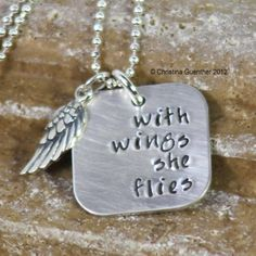 with wings she flies – personalized hand stamped jewelry - DIY Jewelry Pearl Ideen Silverware Jewelry, Spoon Jewelry, Metal Jewelry, Custom Jewelry, Handmade Jewelry, Unique Jewelry, Earrings Handmade, Nagel Tattoo, Hand Gestempelt