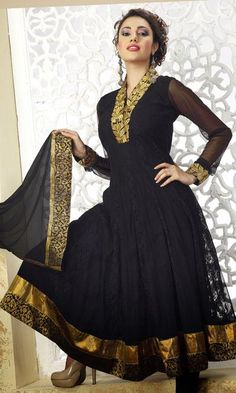 Black Net Resham Work Full Sleeve Anarkali Salwar Kameez 24515